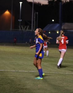 CSUB freshman forward Haley Vicente screams after an attempted goal against Seattle University on Friday, Oct. 23 at the Main Soccer Field. Vicente is the second-leading scorer (5) for the Roadrunners. Photo by Karina Diaz/The Runner