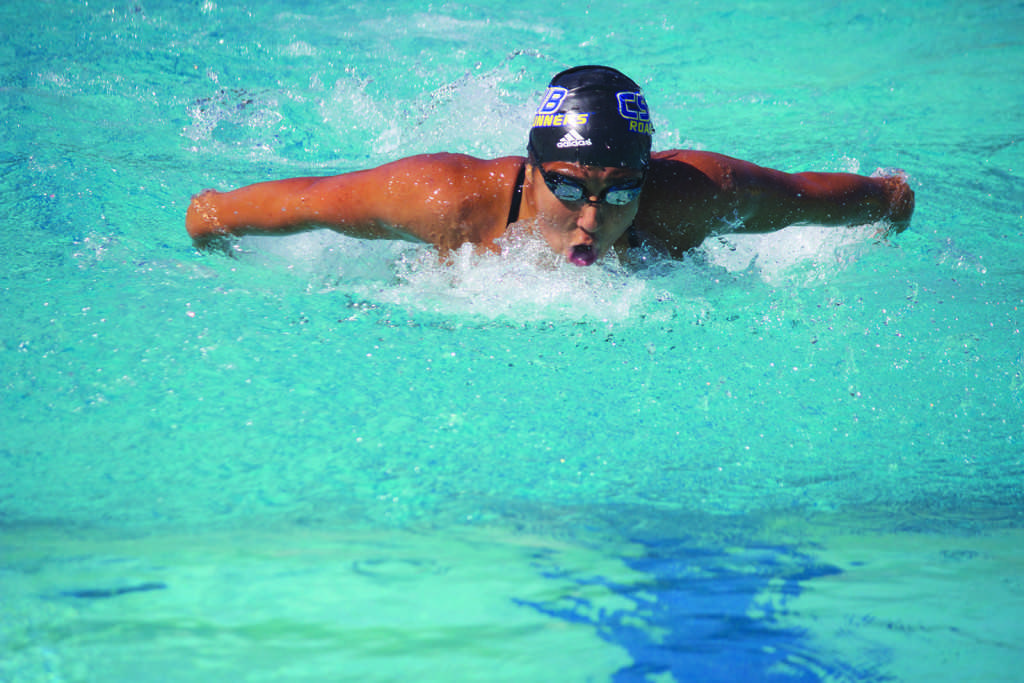 Freshman+Darya+Samiee+swims+in+the+200-yard+butterfly+against+Grand+Canyon+at+Hillman+Aquatics+Complex+on+Oct.+10.+%0APhoto+by+Bre+Williams%2FThe+Runner