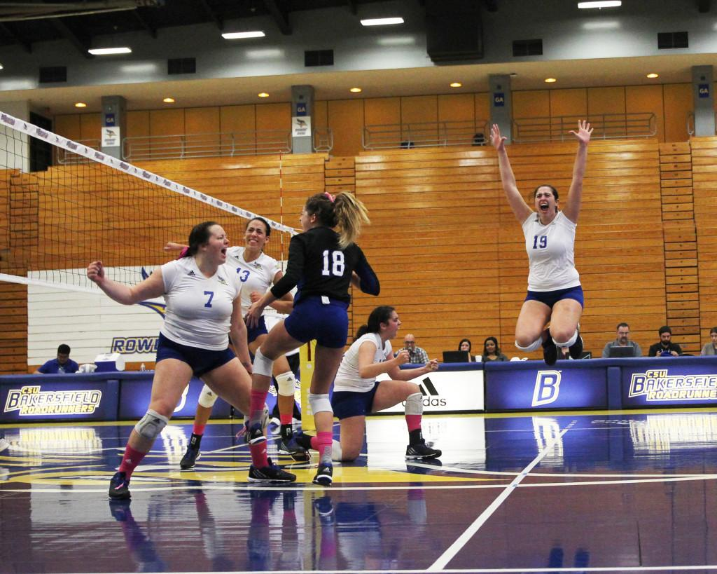 CSUB+celebrates+after+scoring+the+final+point+in+a+clean+sweep+of+Grand+Canyon+at+the+Icardo+center+on+Saturday%2C+Oct.+24.+%0APhoto+by+AJ+Alvarado%2FThe+Runner