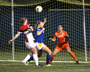 CSUB's defense attempts to stop Seattle from scoring during the semifinal match of the WAC Tournament on Friday at the Main Soccer Field.