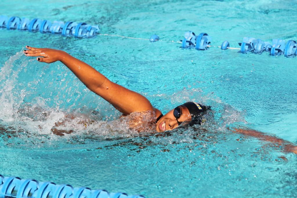 CSUB+senior+Paola+Hernandez+is+one+of+the+swimmers+returning+this+year.%0APhoto+by+AJ+Alvarado%2FThe+Runner