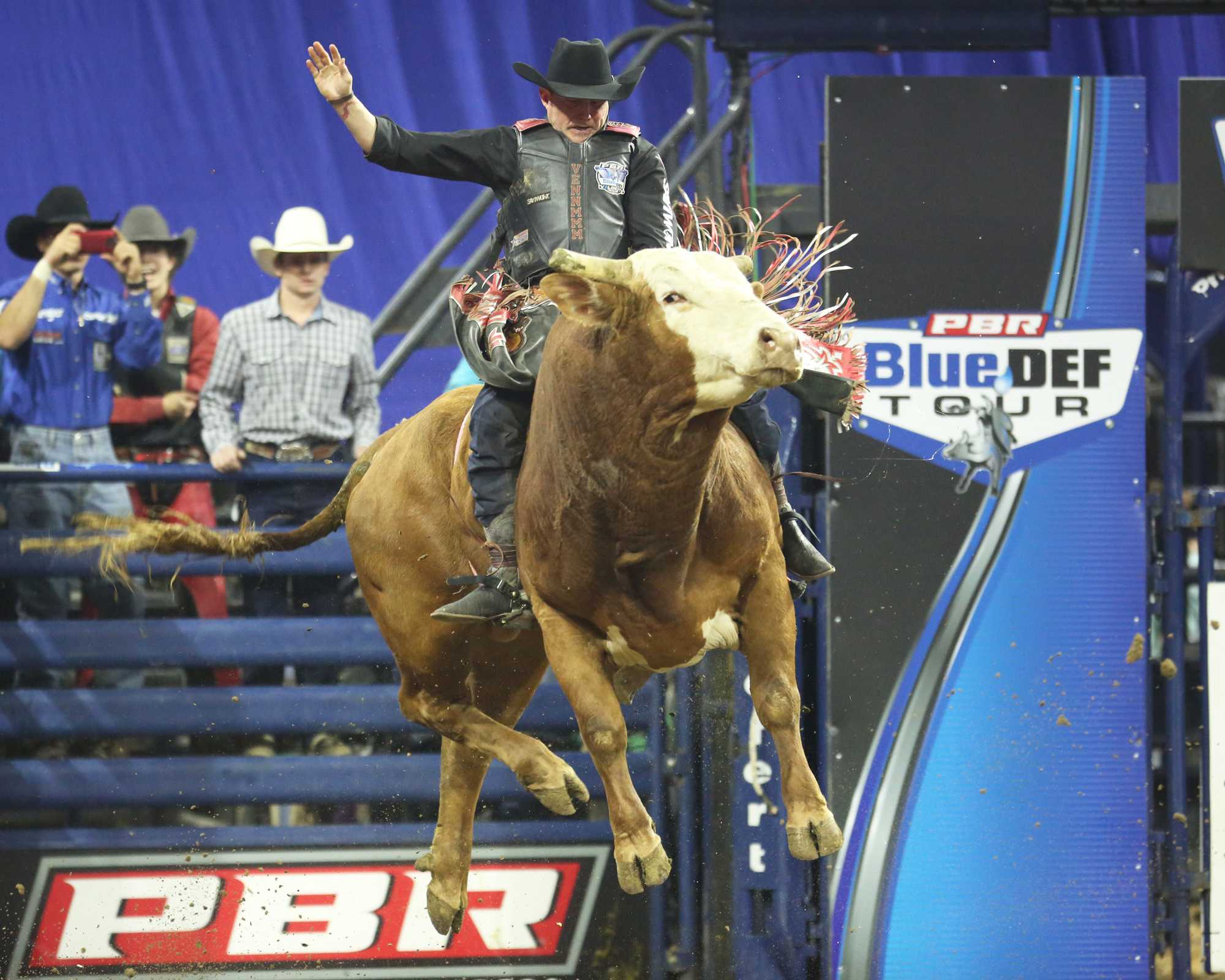 Venn Johns holds on tight as Deerango takes flight during the event Rabobank Arena on Saturday, Nov. 21.