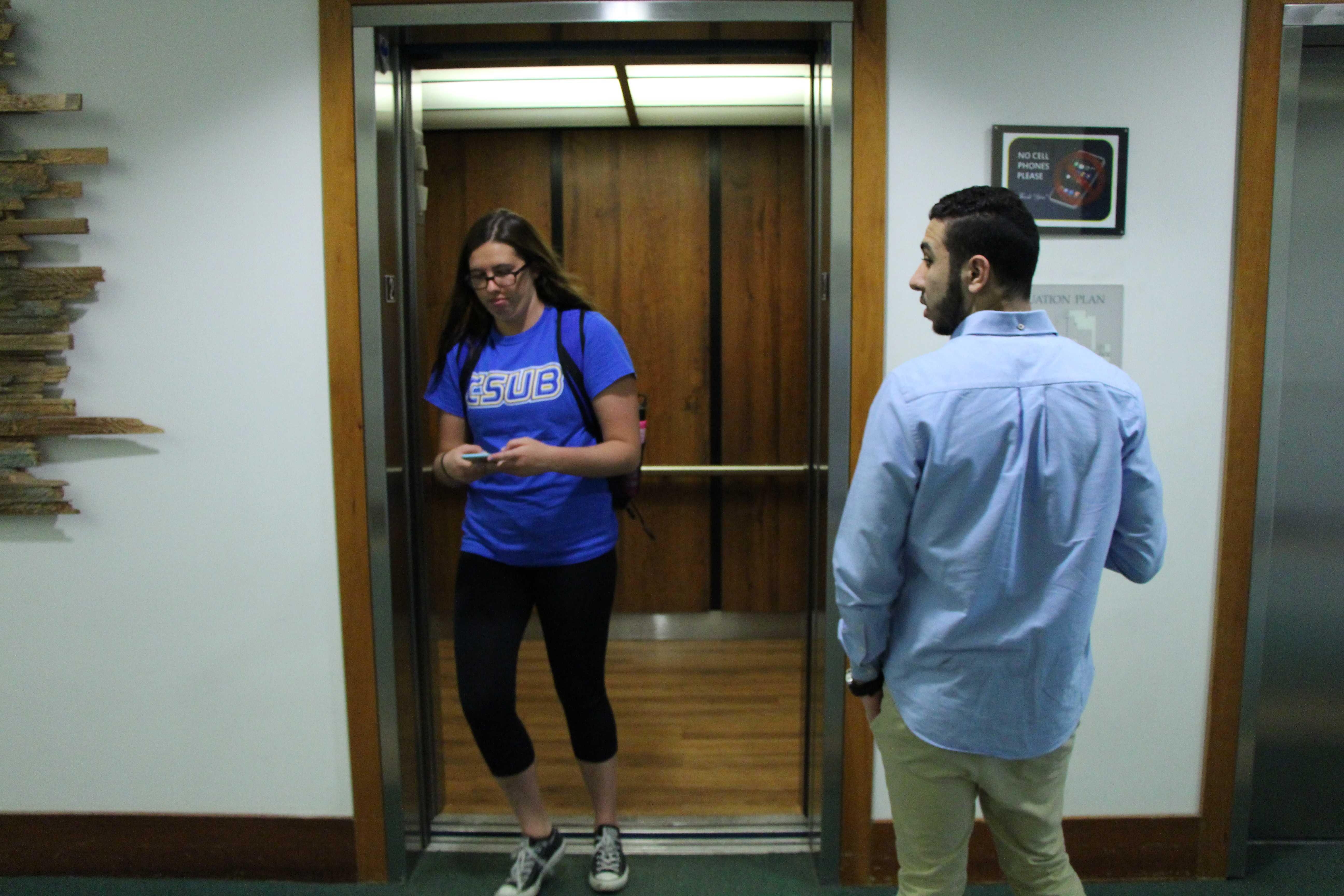 Elevator action on campus