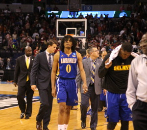 CSUB walks off the court after losing to Oklahoma 82-68 in the first round of the NCAA Division I Men's Basketball Tournament on Friday. Photo by Alejandra Flores/The Runner
