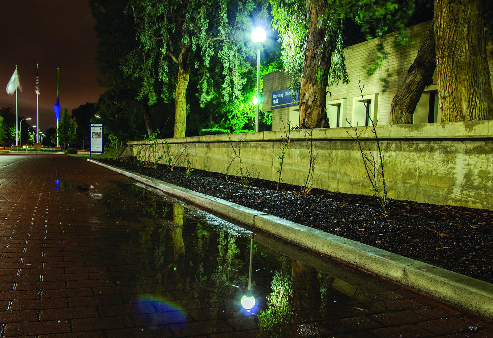 April showers form puddles on CSUB roads