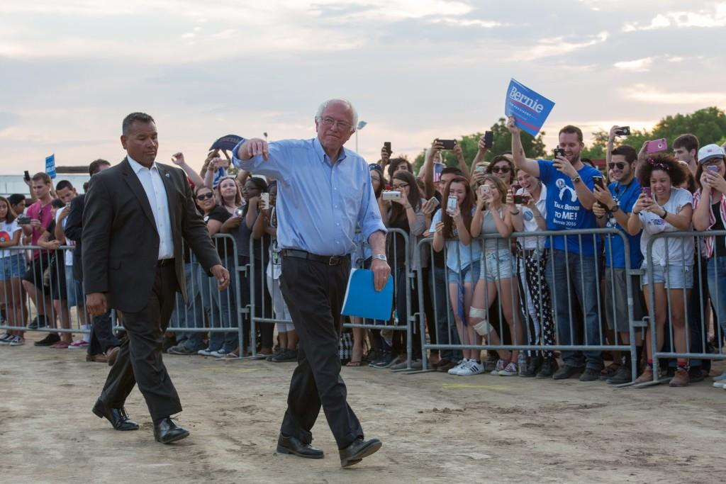 Senator+Bernie+Sanders+walks+to+the+podium+during+the+rally+at+the+Kern+County+Fairgrounds+on+Saturday%2C+May+28%2C+2016.%0APhoto+by+Ben+Patton%2FThe+Runner