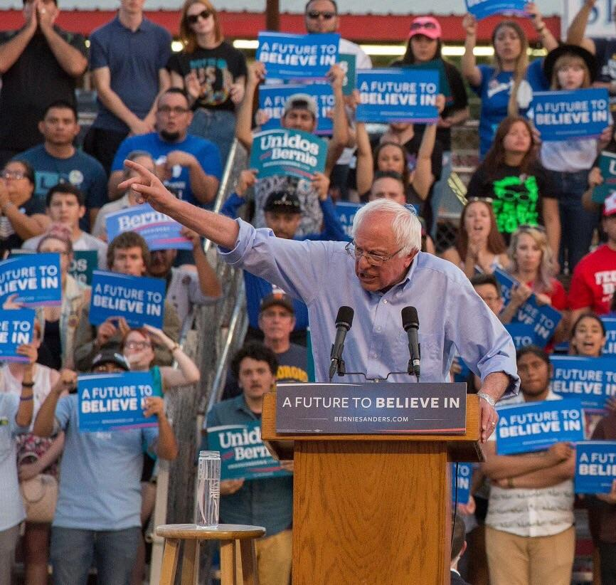 Democratic+presidential+candidate+Bernie+Sanders+speaks+to+the+community+during+his+rally+at+the+Kern+County+Fairgrounds+on+Saturday%2C+May+28%2C+2016.+Photo+by+Ben+Patton%2FThe+Runner