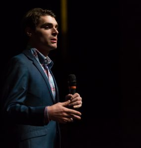 "RJ Mitte speaks of his experience on the AMC series Breaking Bad where he played the role Walter ""Flynn"" White.  Photo by Ben Patton/The Runner"