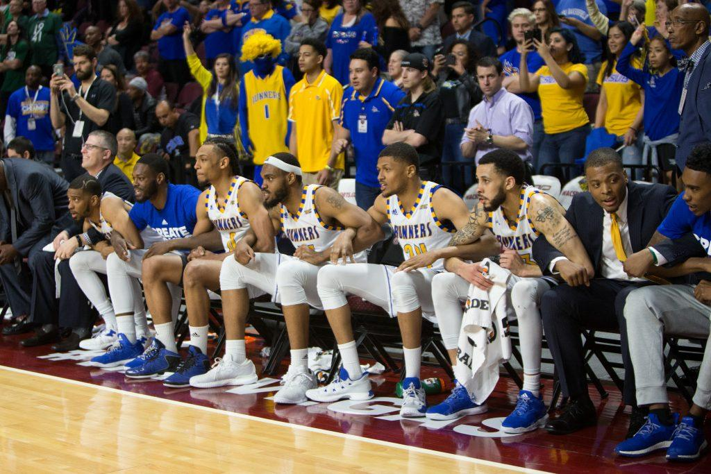During+the+final+seconds+of+the+game+against+Utah+Valley%2C+CSUB+bench+holds+arms+as+they+squeak+out+the+win+and+advance+to+the+semi+finals.+Photo+by+AJ++Alvarado%2F+The+Runner