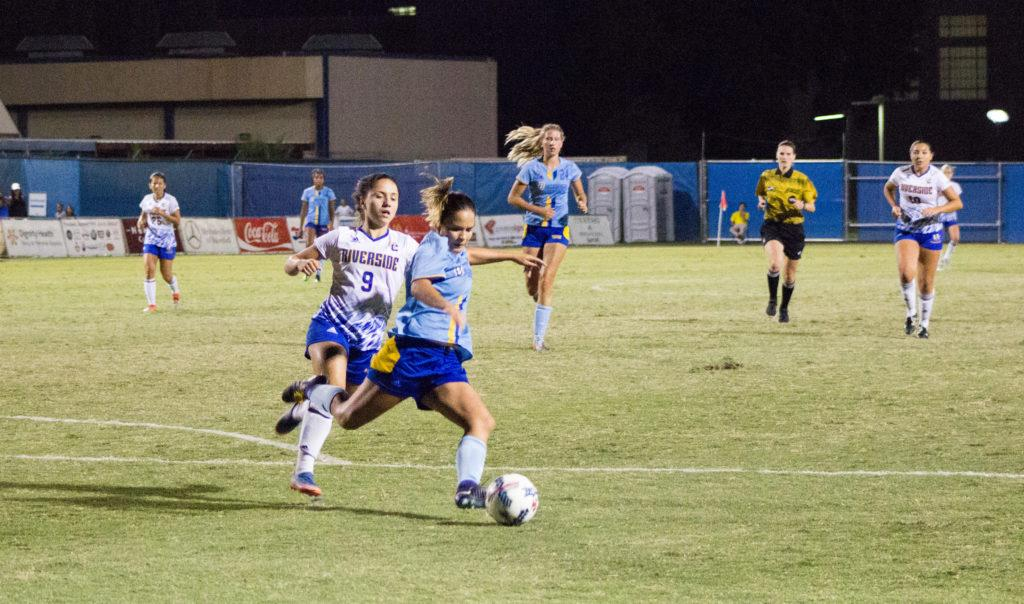 CSUB+freshman+midfielder+Jeenna+Bostrom+attempts+to+clear+the+ball+out+of+CSUB+territory+during+Sunday+night%E2%80%99s+game.+It+was+her+first+start+of+the+season.+%0APhoto+by+Scot+Swan%2FThe+Runner