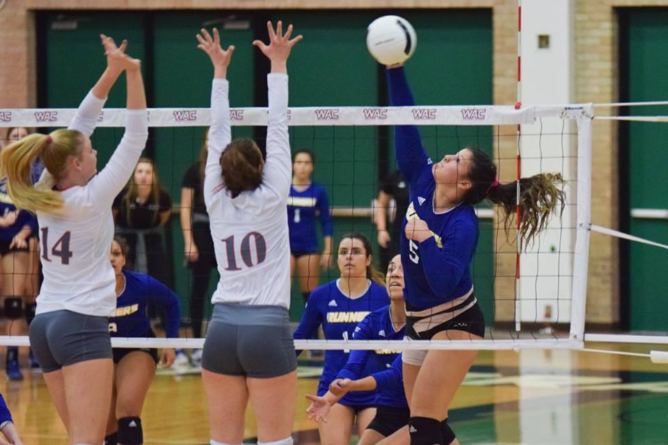 Jesica+Gonzalez%2FWAC+Sports%0AAleksandra+Djordevic+rises+for+a+kill+against+two+UTRGV+blockers+in+the+Western+Athletic+Conference+Tournament+Championship.+Djordevic+was+named+tournament+MVP.%0APhoto+by+Jesica+Gonzalez%2F+WAC+Sports