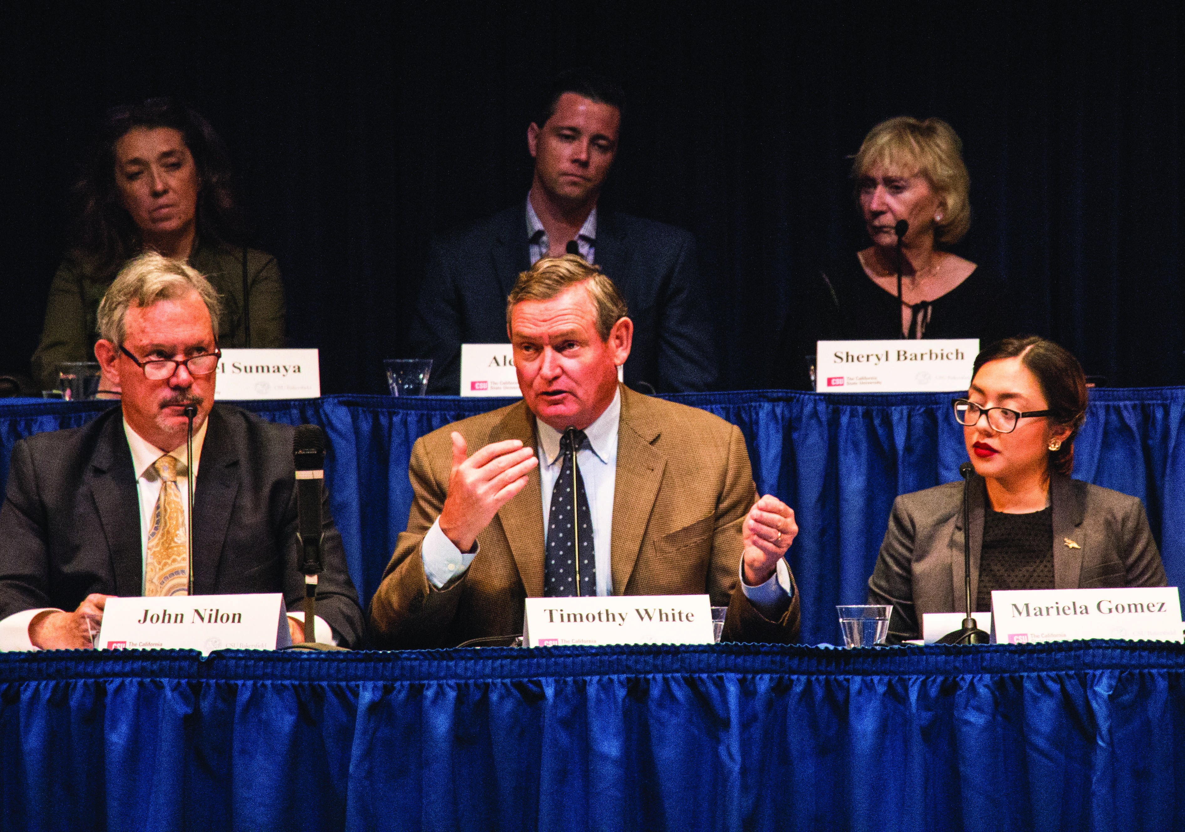 The Presidential Search Committee holds an open forum on Oct. 30 in the Dorè Theatre led by CSU Chancellor Dr. Timothy White.  Photo by Arturo Castellanos/ The Runner