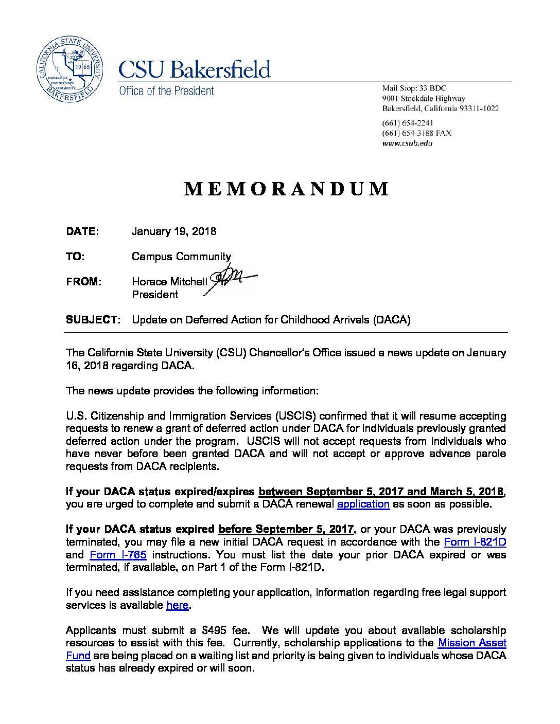 Brief president mitchell releases memo regarding daca updates by managing editor january 20 2018 falaconquin