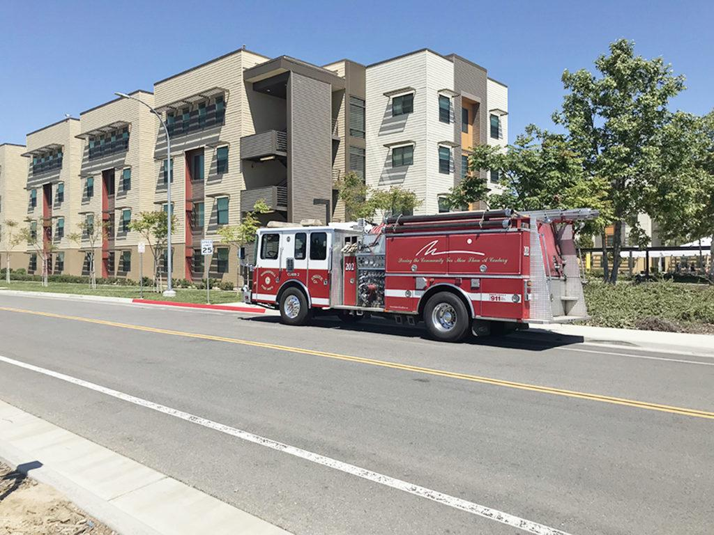 Bakersfield+fire+truck+parked+outside+of+Juniper+Hall+at+East+Housing+