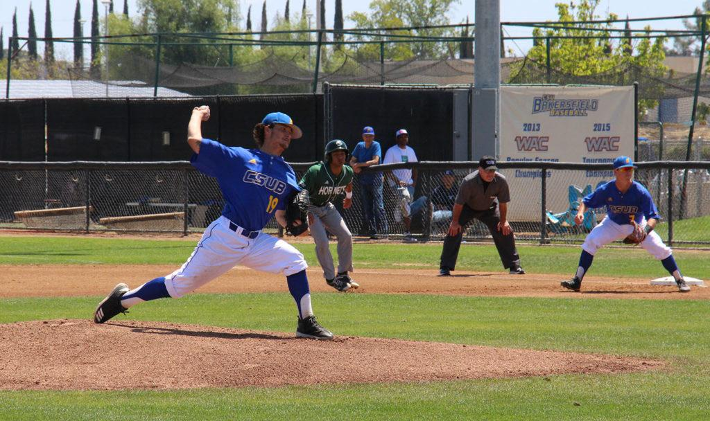 Pitcher+for+CSUB%2C+freshman+Elijah+Parks%2C+kicks+off+the+first+inning+on+Sunday%2C+April+22%2C+at+Hardt+Field+against+Sacramento+State.%0A%0APhoto+by+Aaron+Mills%2F+The+Runner%0A