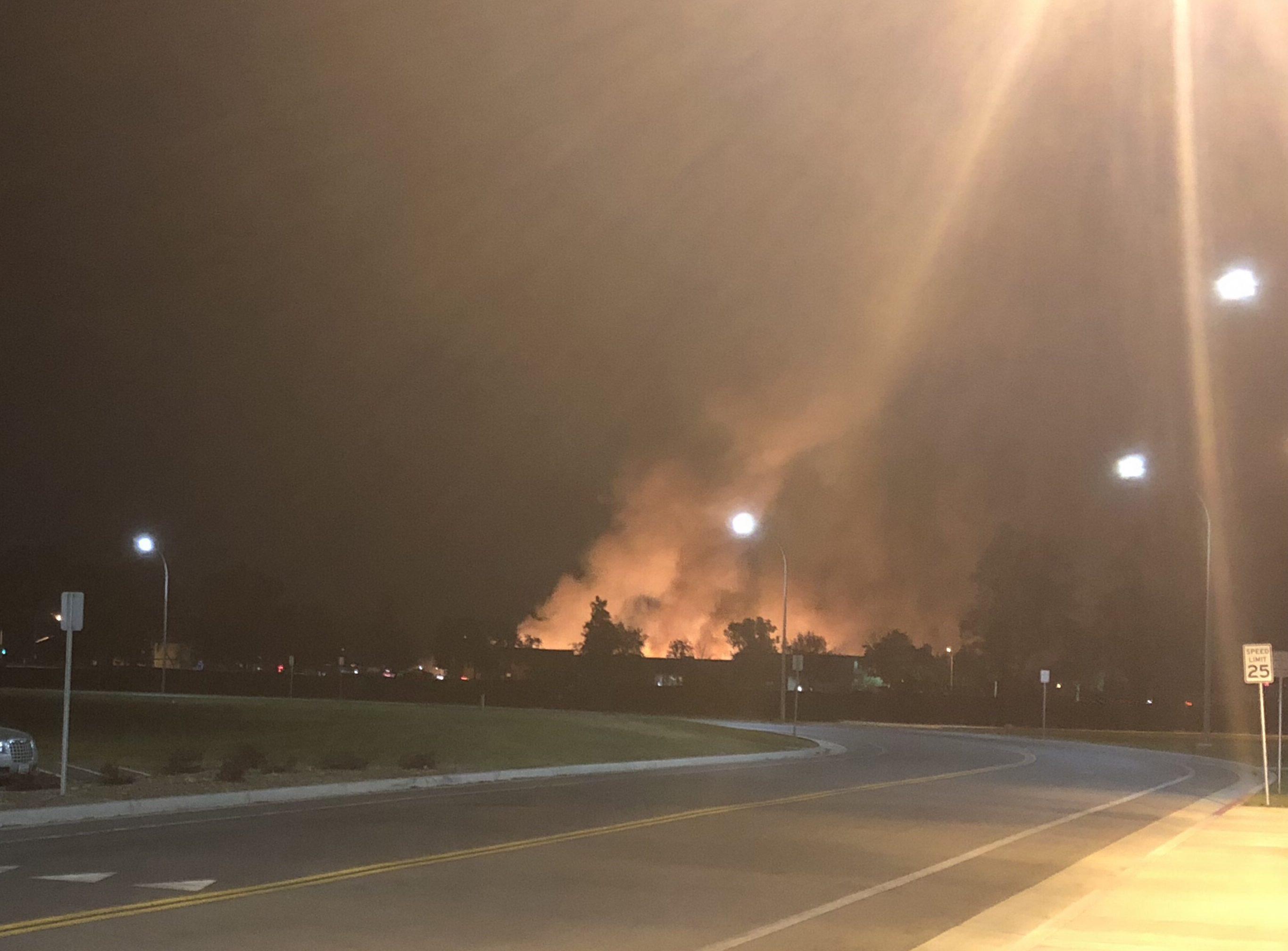 Roaring fire near campus under investigation