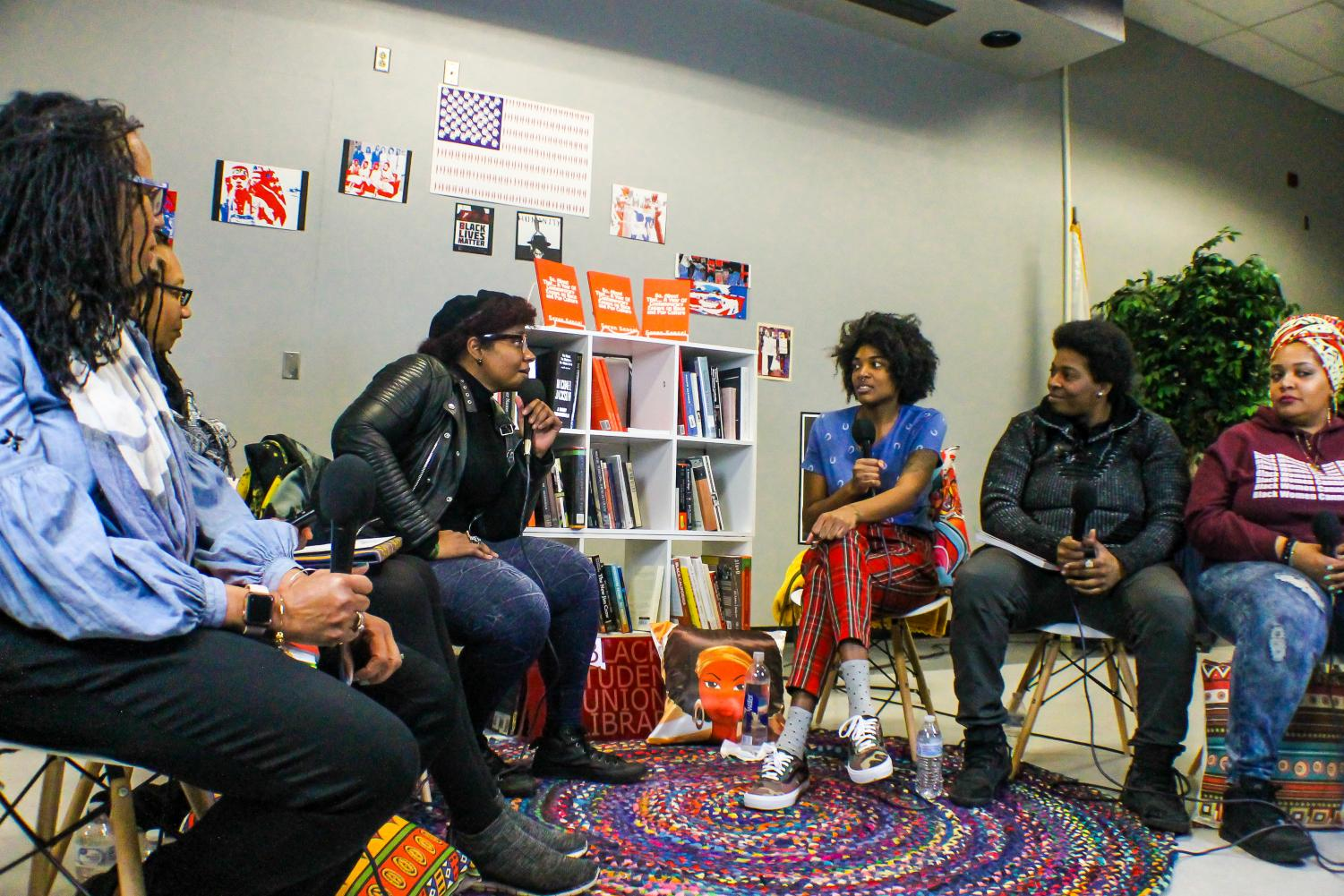 Sensei Ashitemasu, author of 'So, About That... A Year Of Contemporary Essays on Race and Pop Culture', swaps ideas with the Black Student Union during a live podcast on Feb. 28 in the Student Union Multi-Purpose Room.