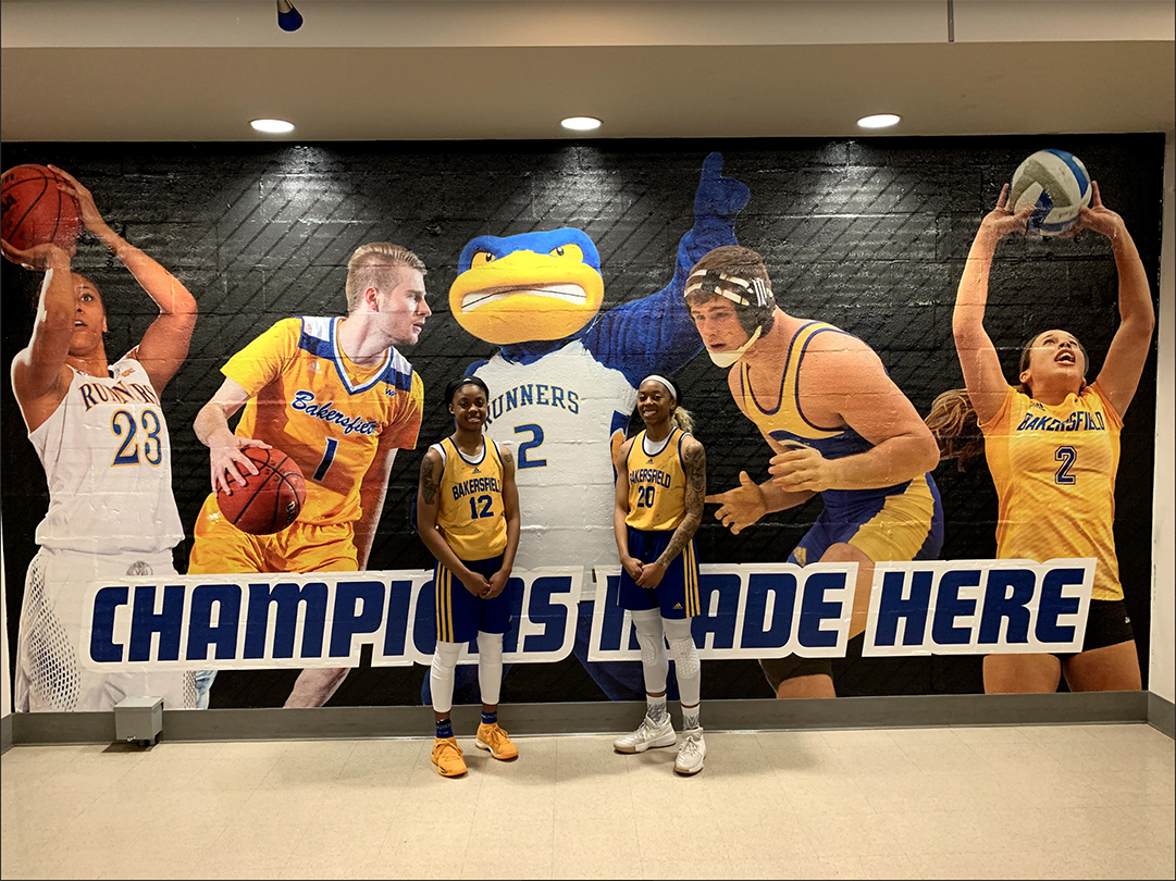"JJ Reed/The Runner/ CSUB Women's Basketball Team players Alexxus Gilbert (left) and Jazmine ""JJ"" Johnson (right) preparing for practice in the Icardo Center."