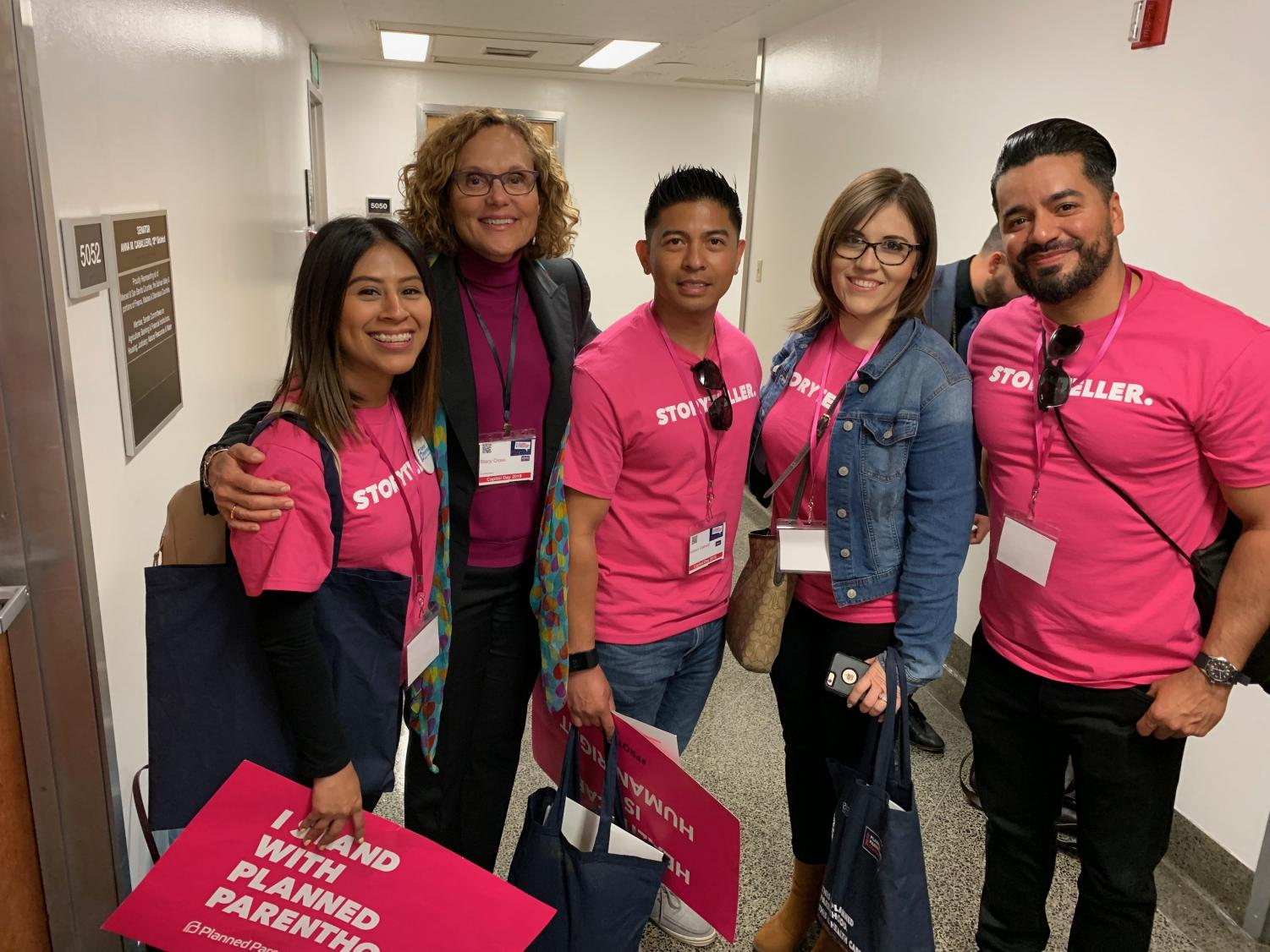 Photo courtesy of Hobert Gabuat  CSUB graduate students meet with Stacey Cross (second from left), CEO of Planned Parenthood Mar Monte, on April 10 during Capitol Day.