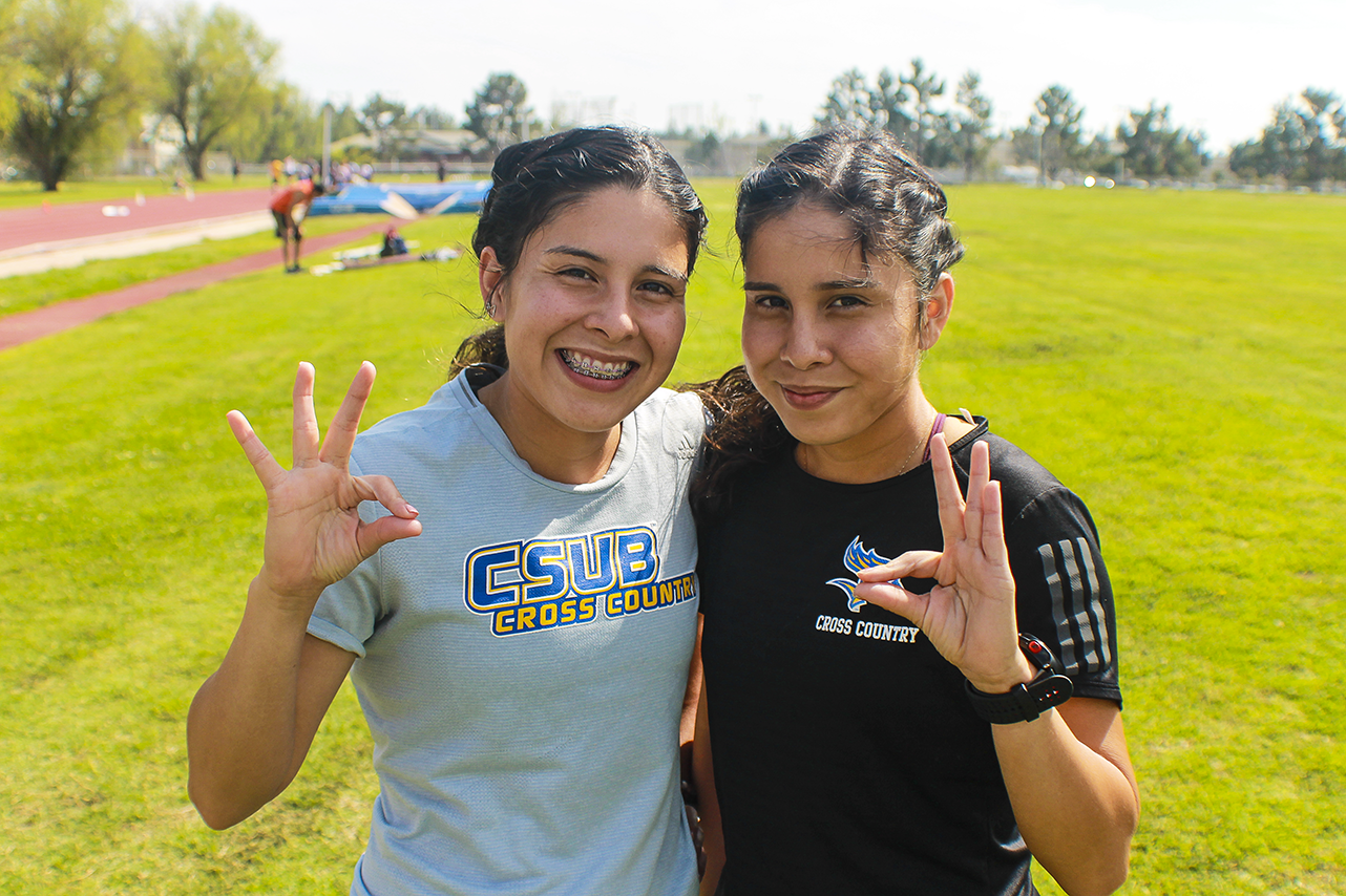 Alejandra and Bianca Frausto during cross country/ track and field practice on March 26, 2019