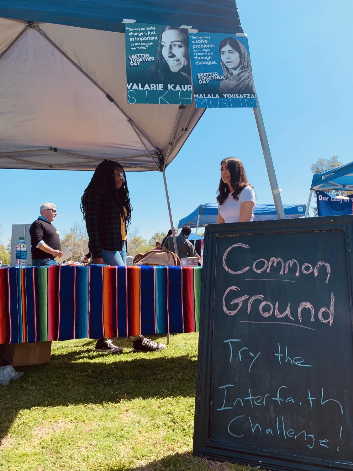 Common Ground, a club of CSU Bakersfield, has members at their table at the Festival for Peace and Non-Violence, on March 30 at CSUB.