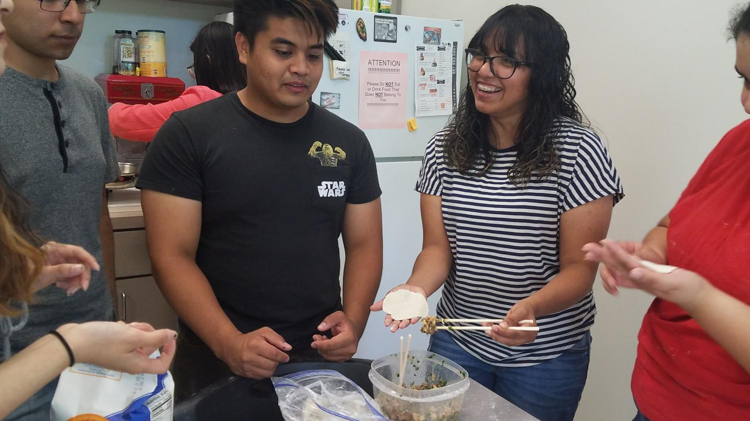 CSU Bakersfield students make dumplings during the dumpling workshop on May 8 in the Break Room in the Walter Stiern Library.  Silvia Lopez Medero/The Runner