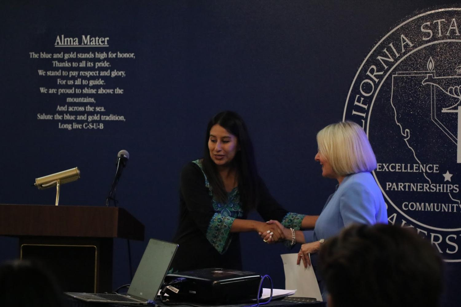 Jennifer Sanchez commenced the Sustainability Recognition Ceremony, on May 15, and CSUB President Lynnette Zelezny was also in attendance.   By Sergio Hernandez