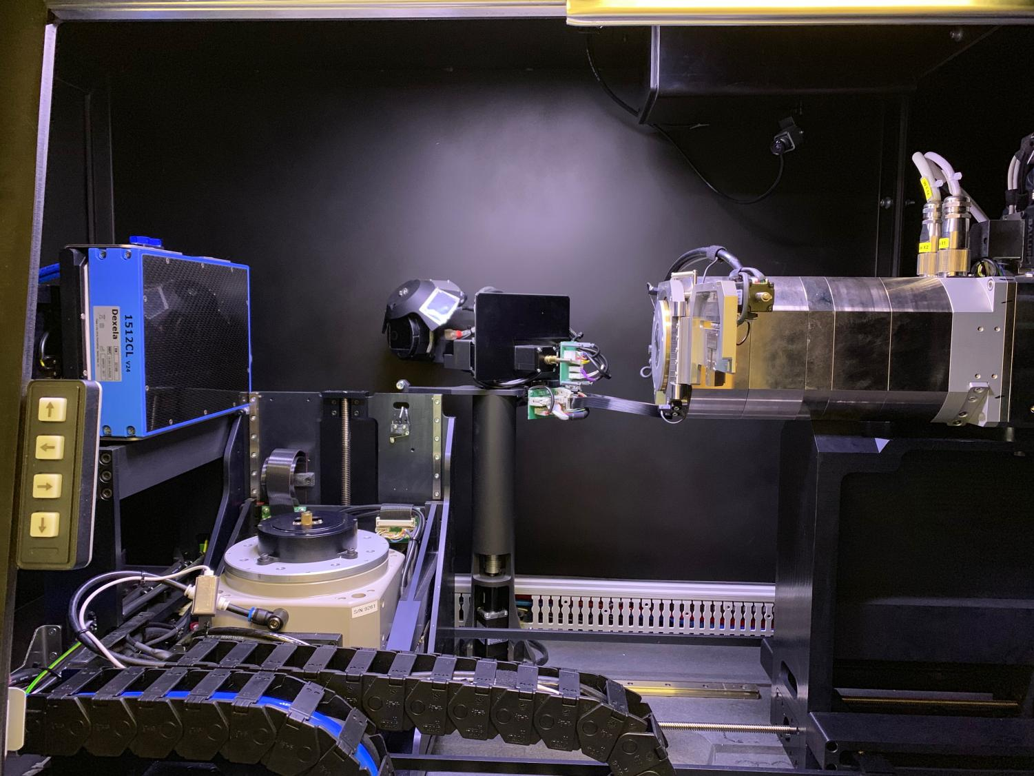 Inside view of the Micro CT scanner located in the Science III building.