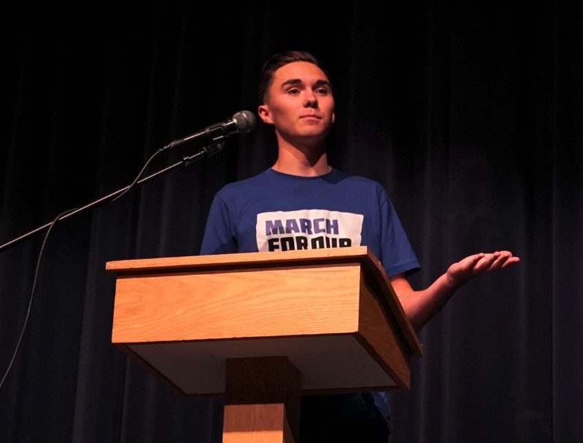 Hogg+speaking+during+a+March+for+Our+lives+event+at+a+High+School+in+Maine.+Photo+courtesy+of+March+for+Our+Lives+