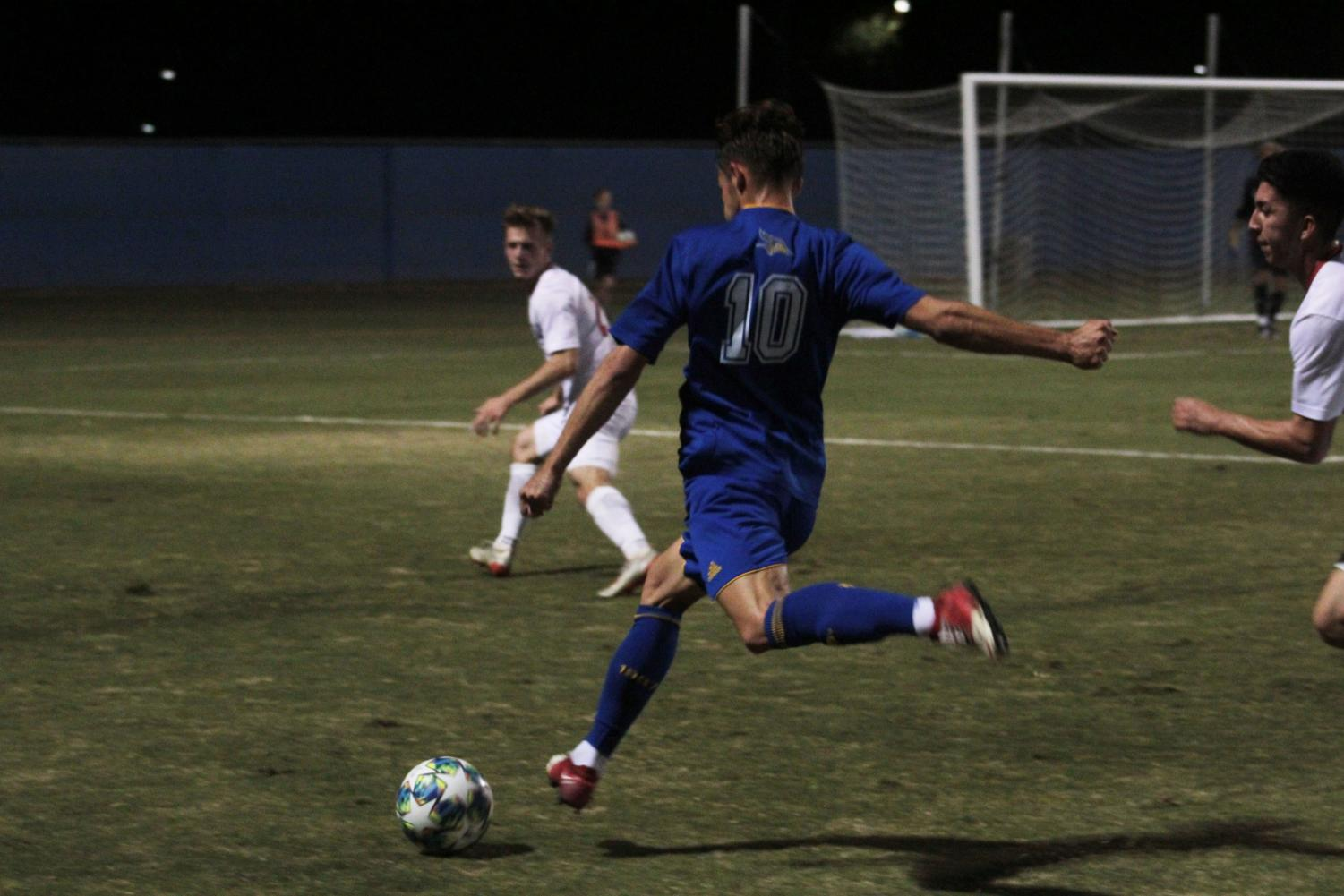 Senior forward Niklas Koerber assisted in the first goal scored by Ryan Goldsmith (not pictured) on Oct. 19 at the main soccer field.