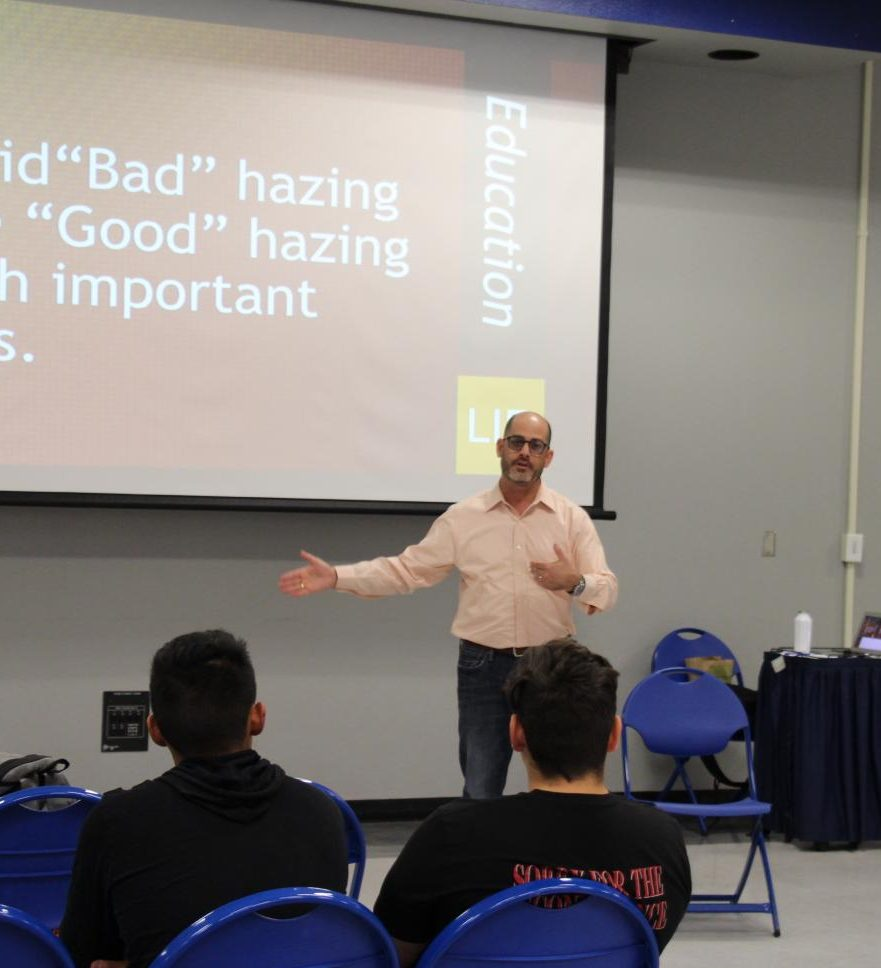 """President of Campus Speak, David Stollman, debunks the myth of claiming there is """"good""""  hazing and """"bad"""" hazing with students at the Student Union Multipurpose Room on Wed., Sept.  25, 2019. Photo by Karin Patino."""