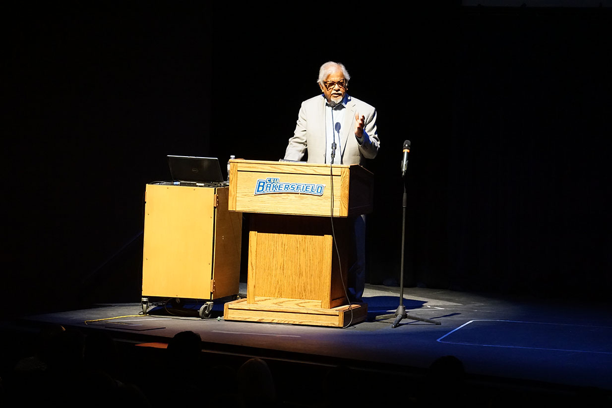 Arun Gandhi speaking at Dore Theater on CSUB Campus on Sept. 28, 2019.
