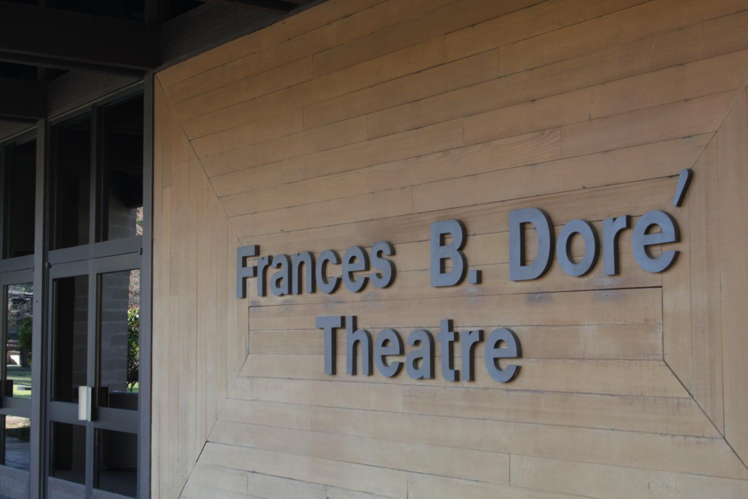 The front sign entrance of the Dore Theatre located on the north east side of the  CSUB campus photographed on November 21, 2019.
